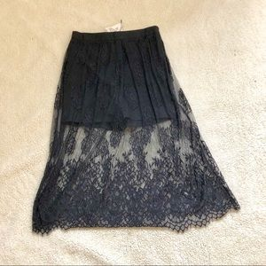 NWT! Rehab black short with lace skirt on top. L